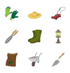 Care garden icons set cartoon style vector