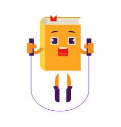 cartoon book character skipping rope vector image