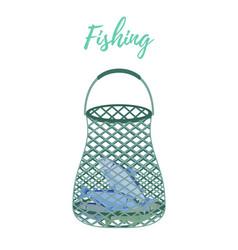 cartoon fishnet scoop-net for fishing vector image
