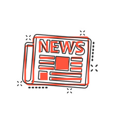 cartoon newspaper icon in comic style news sign vector image