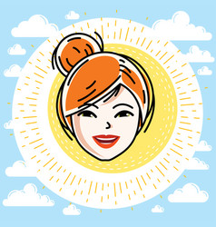 Caucasian woman face expressing positive emotions vector