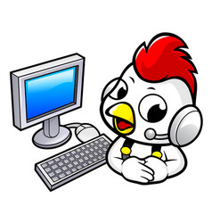 Chicken character and computer isolated on white vector