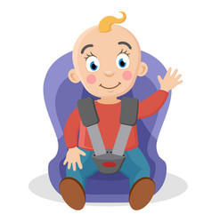 child fastened in a car seat waving on a white vector image