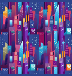city landscape seamless pattern modern downtown vector image