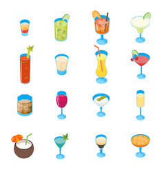 cocktail drink 3d icons set isometric view vector image