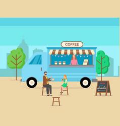 coffee shop customers drinking delicious latte vector image