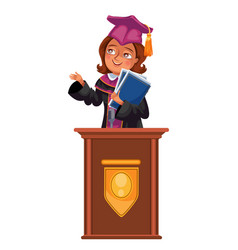 college graduation flat colorful poster with happy vector image