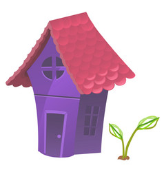 compact fabulous purple house with pink roof vector image