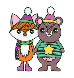 cute bear and fox with hat and scarf merry vector image