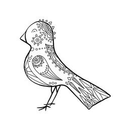 cute cartoon bird with boho pattern linear the vector image