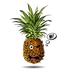cute fresh pineapple cartoon character emotion hi vector image