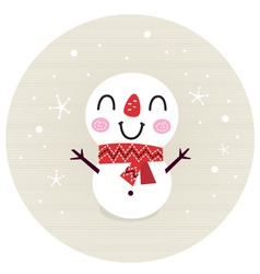 Cute retro Snowman in circle isolated on beige vector image