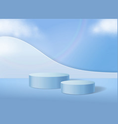 Cylinder abstract podium on pastel blue background vector