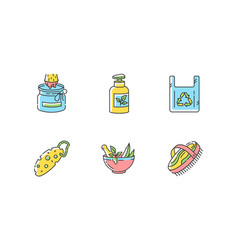 Eco friendly products rgb color icons set vector