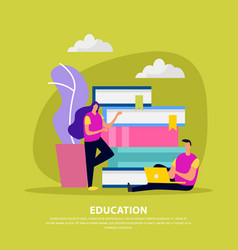 education library flat background vector image
