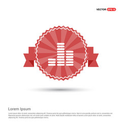 equalizer icon - red ribbon banner vector image