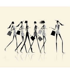 Fashion girls with shopping bags for your design vector image