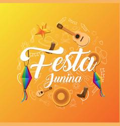 festa junina background template vector image