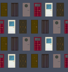 Flat building exterior elements seamless pattern vector