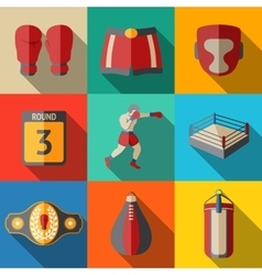 Flat icons set boxing - gloves shorts helmet vector image