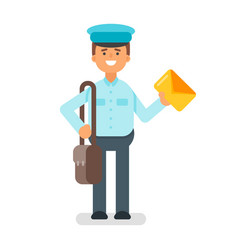flat style of postman vector image