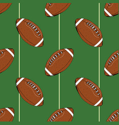football rugby ball seamless pattern hand drawn vector image