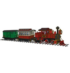 Funy old american steam train vector image