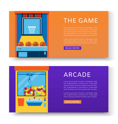game machines banners set vector image