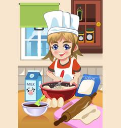 Girl baking in the kitchen vector