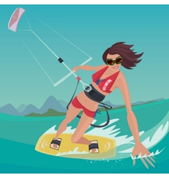 Girl is engaged in kitesurfing vector image