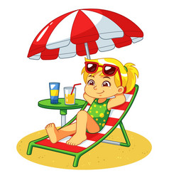 Girl sunbathing and relaxing on the beach vector