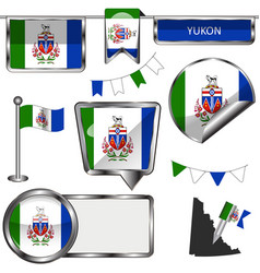 glossy icons with flag of province yukon vector image