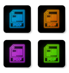glowing neon pdf file document icon download pdf vector image