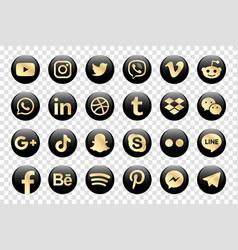 Golden facebook instagram twitter youtube vector