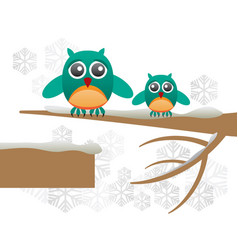 greeting card with cute owls over branch vector image