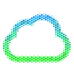halftone blue-green cloud icon vector image