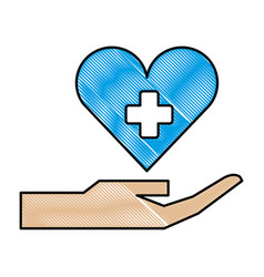 hand with medical heart and cross symbol vector image