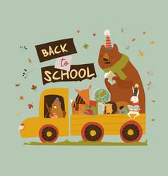 Happy cartoon animals going to school car vector