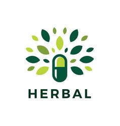 Herbal capsule pill leaf medicine drug logo icon vector