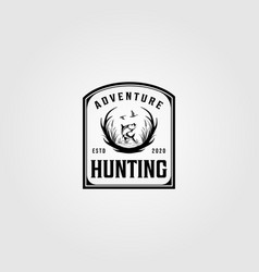 hunting adventure logo vintage design vector image