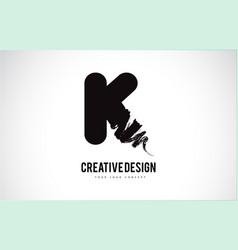 K letter logo design brush paint stroke artistic vector