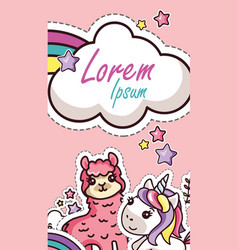 kawaii animal design sticker cartoon card cover vector image