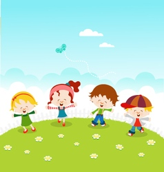 Kids Celebrating Spring vector image