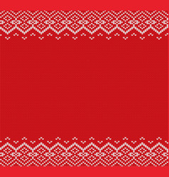 Knitted christmas background red and white vector