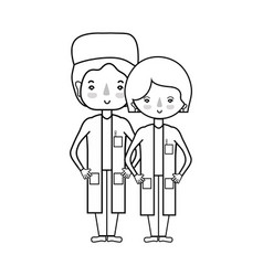 line woman and man doctors with their uniform vector image
