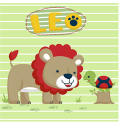 Lion and turtle cartoon vector
