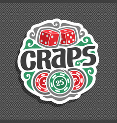 Logo for craps gamble vector