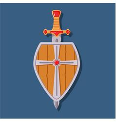 Medieval sword shield game weapon cartoon symbol vector