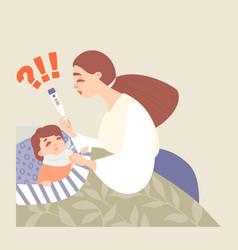 Mom measures temperature her sick baby vector