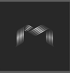monogram letter m logo minimal overlapping vector image